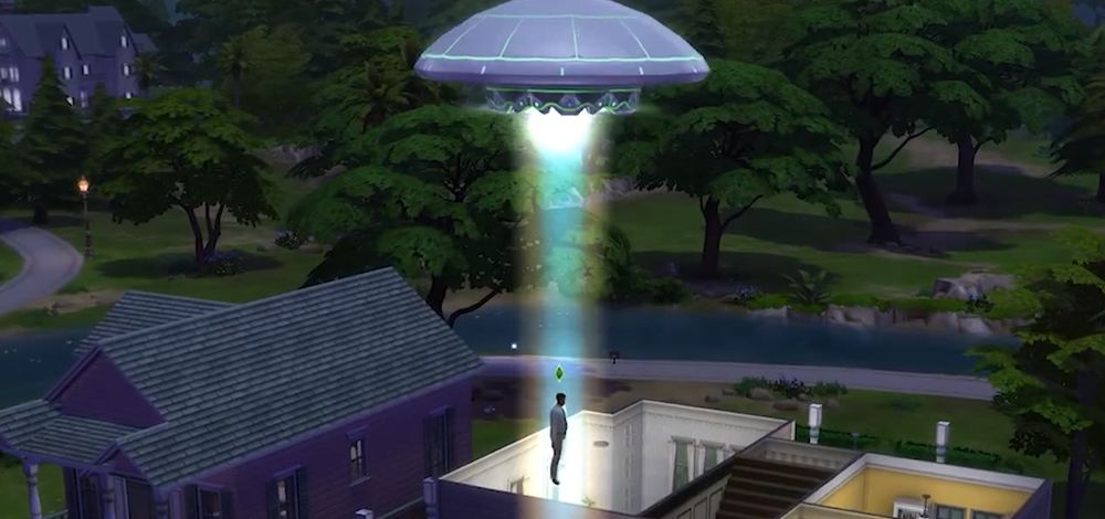 A UFO abducts a Sim in The Sims 4