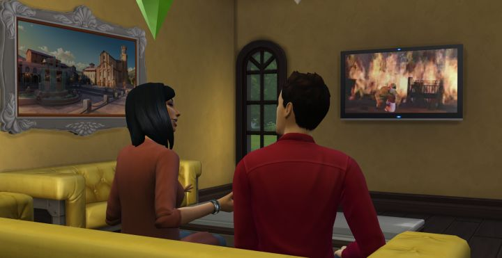 Getting to know a Sim on the couch. Both Sims gain Charisma.