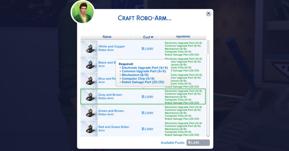 The Robo-Arm cybernetic enhancement you can make for Robotics in The Sims 4