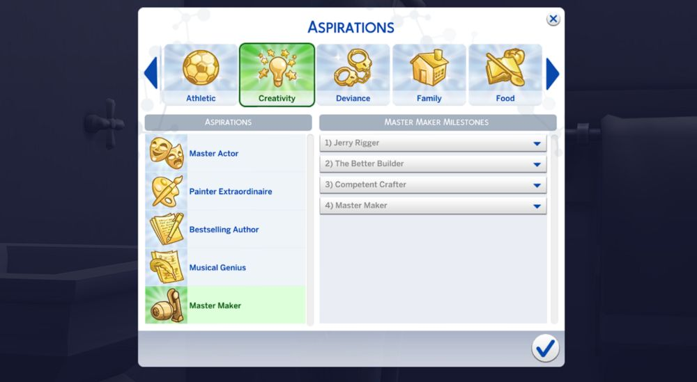The Master Maker aspiration in The Sims 4 Eco Lifestyle