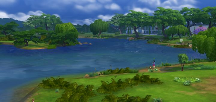 A beautiful view in Sims 4 while Fishing