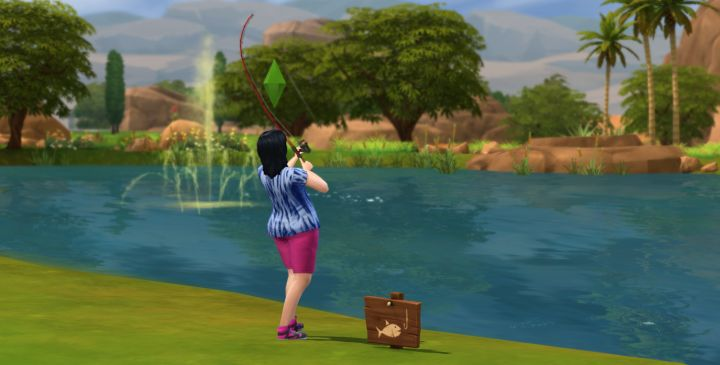 The Sims 4 Fishing Skill - a Sim Catching Fish