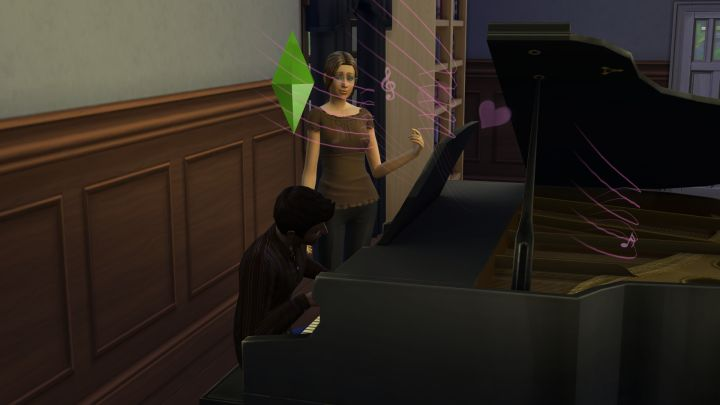 Serenading another Sim with Piano