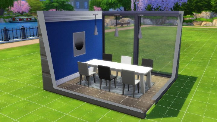 A Styled Room in The Sims 4 Cool Kitchen Stuff Pack