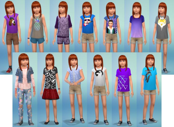 The Sims 4 Kids Room Stuff - new girl clothing