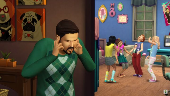 The Sims 4 Kids Room Stuff dad is a little stressed out by the girls