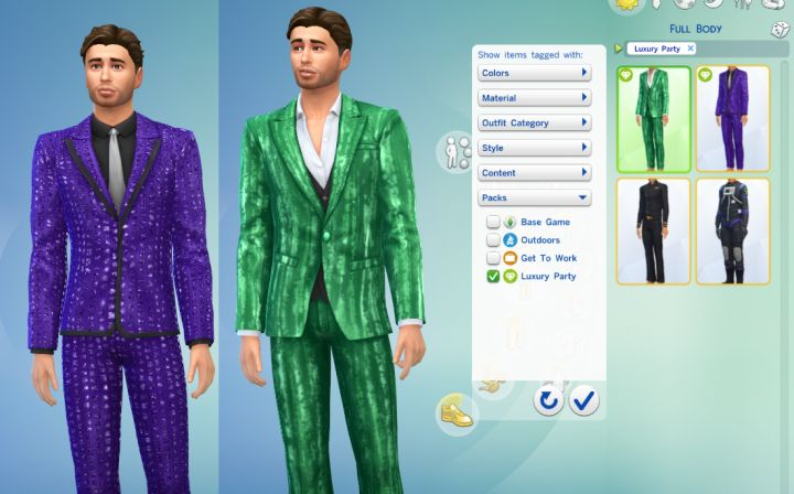 New male outfits in the Luxury Party Stuff Pack