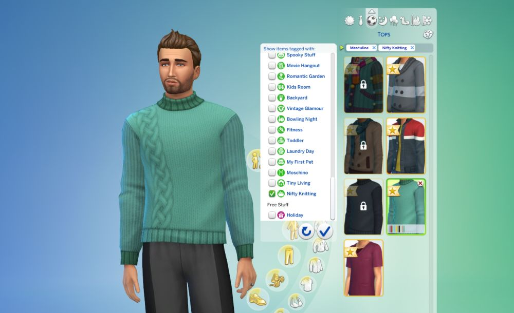 The sweater is unlocked in create-a-sim