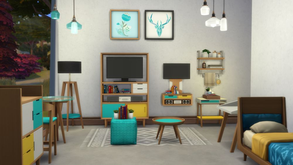 The Sims 4 Tiny Living Stuff - Objects you get with the pack including tv and others
