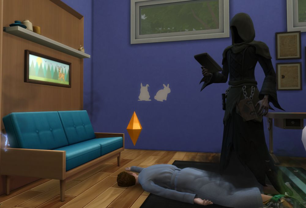 The Sims 4 Tiny Living Stuff - A Sim has died from the Murphy Bed