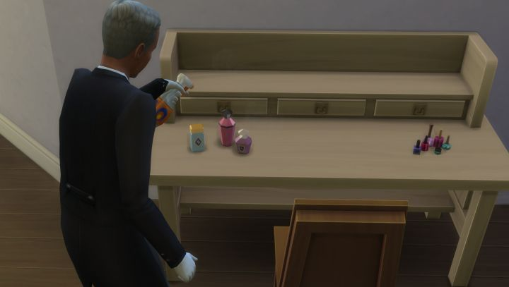 A butler cleans a table in The Sims 4