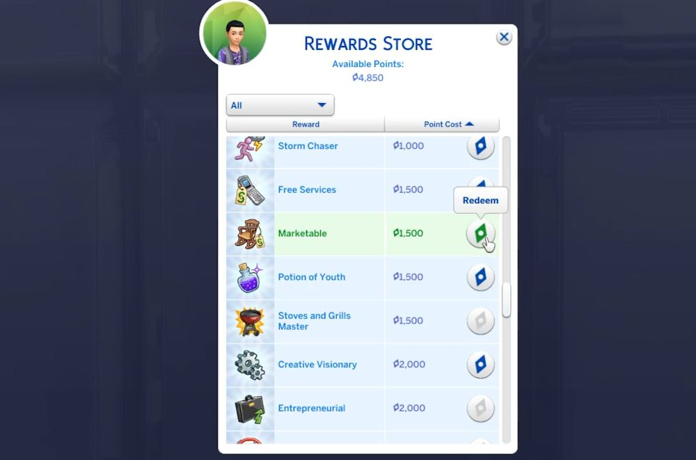 The Sims 4 Super Sim - Rewards to buy for a Super Sim.
