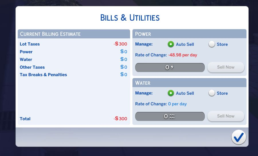 New bills interface in The Sims 4