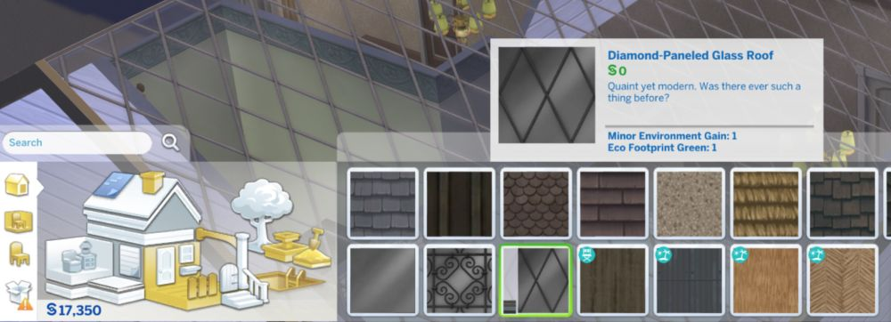 Eco footprint, environment, and fire resistance boosts to objects in The Sims 4