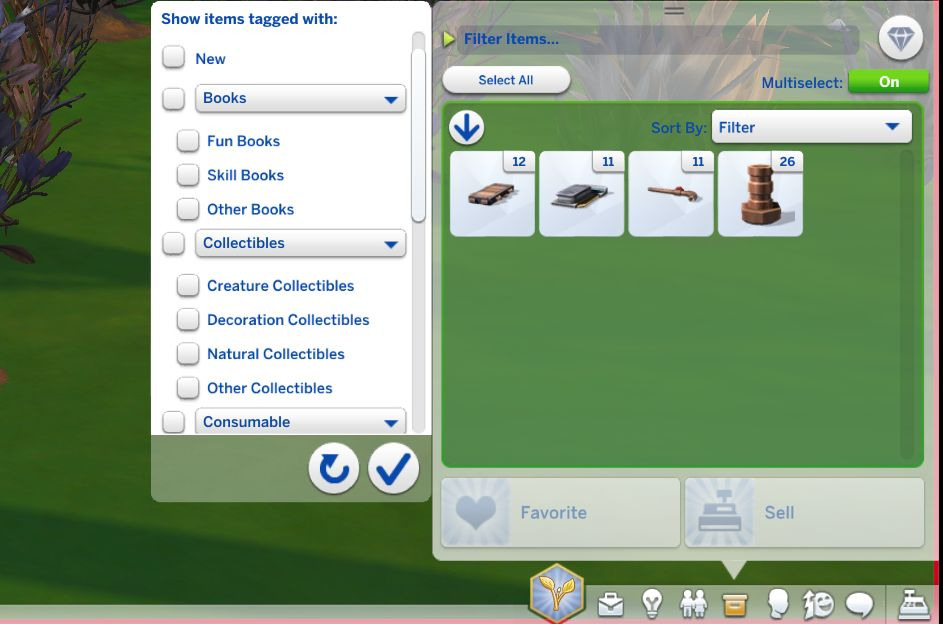 You can filter objects by type in The Sims 4 inventory update