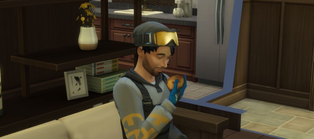 Rock climbing makes protein and energy bars in The Sims 4 Snowy Escape