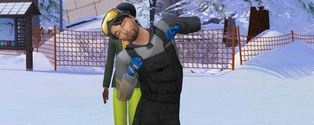 Getting ready to climb in The Sims 4 Snowy Escape